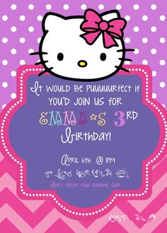 Hello Kitty birthday invitation by TheLaughingLadybug on Etsy, $15.00