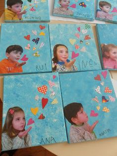 Take a photo of the child blowing a kiss, cut away the background of the photo, paint a  sky blue background, paste paper hearts to the paper as if coming out of the child's mouth.