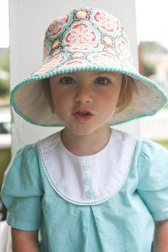 Pom Pom Sewing Projects for Summer - cute bucket hat by Probably Actually