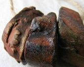 4 Artisan Stoneware Beads handmade Ceramic Clay Jewelry natural tribal rustic patina bronze earthy