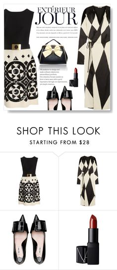 """pattern play"" by juliehalloran ❤ liked on Polyvore featuring Valentino, Attico, Miu Miu, LYDC and NARS Cosmetics"