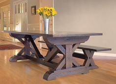 Reclaimed West's beautiful hand-crafted farm-house table and matching wooden bench made from reclaimed white oak. Furniture, furniture design, bench, home decor, dining room, dining room furniture, Colorado, California www.reclaimedwest... / www.facebook.com/reclaimedwest