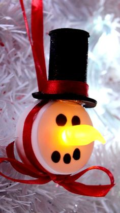 DIY Tea Light Snowman Ornament
