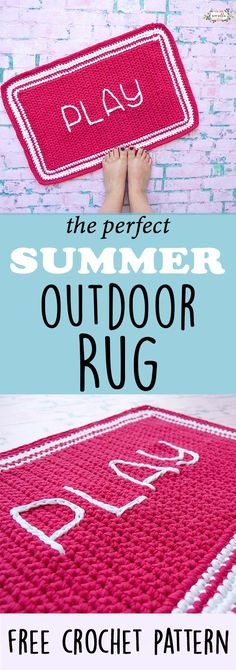 Make this easy Play outdoor rug before summer is here! It's beginner friendly, bright, and durable for playing outside all season - make this DIY crochet rug from the free pattern!