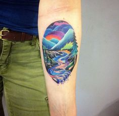 Colorful Landscape Tattoo by Martyna Popiel