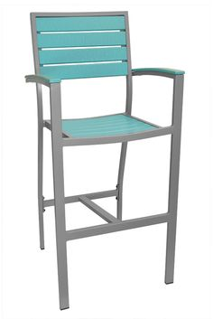 Caribbean Collection Silver Frame Bar Stool | Restaurant Furniture