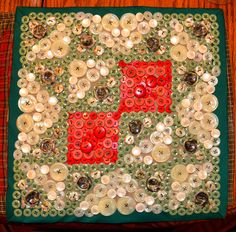 """12""""x12"""" Chisolm Trail quilt square done all in buttons....nice"""