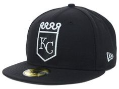 competitive price 7a590 7ac92 Kansas City Royals New Era MLB Black and White 59FIFTY Hat Royals Mlb, Kansas  City