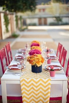 Pink Orange Yellow Outdoor Party Ideas {on the cheap}