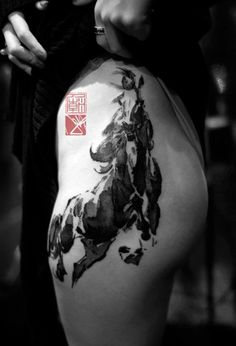 traditional Chinese painting style horse tattoo on thigh - 40 Awesome Horse Tattoos  <3 <3