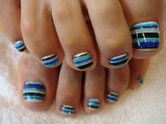 cute and easy toenail designs | Striped design for toenails Cute Toenail Designs