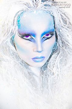 Sparkly crystal accented Snow Queen fantasy make-up look.