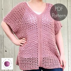 The Adeline Crochet Top! Perfect all sizes! Easily adjustable and fits plus sizes too! Get your ad-free version today for $1.99