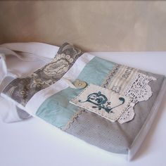 Bag blue and grey Paris with monogram3 by Roxy Creations, via Flickr