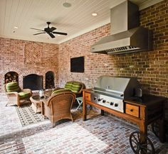 Staggering-Barbecue-Grill-decorating-ideas-for-Magnificent-Patio-Traditional-design-ideas-with-barbecue-BBQ-Black-Ceiling-Fan-kitchen-cart-outdoor-grill-range-hood-red « Lovely Home designs Outdoor Grill, Outside Grill, Patio Grill, Backyard Bbq, Outdoor Living Areas, Outdoor Spaces, Outdoor Decor, Outdoor Kitchens, Home Design