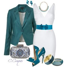 """White & Teal"" by ccroquer on Polyvore"