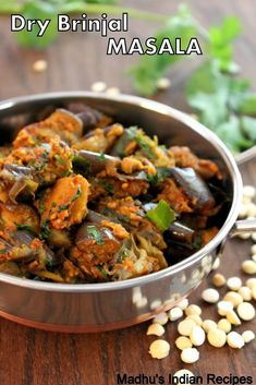 dry brinjal masala -a lip smacking brinjal curry cooked with coconut and spices.Goes well with chapathi & rice. Tasty Vegetarian Recipes, Vegetarian Cooking, Curry Recipes, Vegetable Recipes, Cooking Recipes, Snack Recipes, Vegan Food, Appetiser Recipes, Eggless Recipes