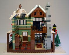 "My entry for Eurobricks ""Expand the Winter Village Contest III"". Lego Winter Village, Lego Village, Lego Christmas Sets, Christmas Ideas, Xmas, Cool Lego, Awesome Lego, Lego Gingerbread House, Lego Models"