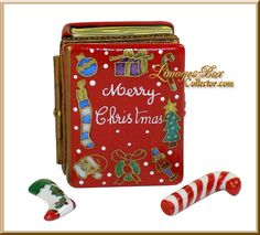 Christmas Book with Candy Cane & Stocking | Porcelain box crafted in Limoges, France (Beauchamp)