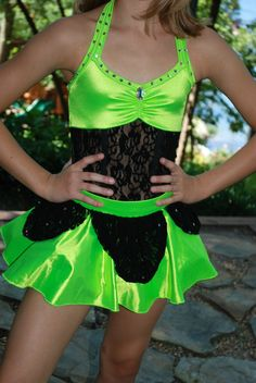 Custom Competition Dance Costume Lime Black cm or CL Jazz Tap Rhinestone | eBay