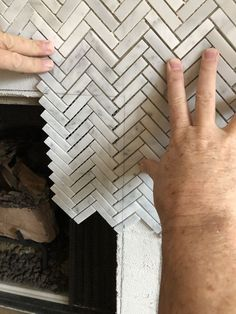 Tile Around Fireplace, Marble Fireplace Surround, Fireplace Update, Brick Fireplace Makeover, Home Fireplace, Faux Fireplace, Marble Fireplaces, Fireplace Remodel, Fireplace Surrounds