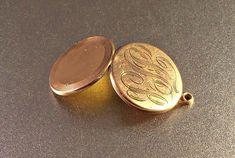 Victorian Photo Locket Pendant Rose Gold Filled Engraved