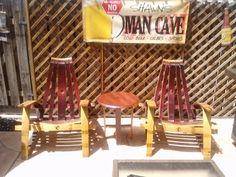 Zin Adironack Chairs in full force! Adirondack Chairs, Outdoor Chairs, Outdoor Furniture, Outdoor Decor, Wine Barrel Chairs, French Oak, Man Cave, Home Decor, Decoration Home