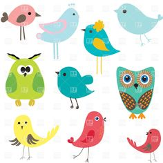Illustration of Owls in six color combinations and four color tree vector art, clipart and stock vectors. Cartoon Bird Drawing, Cartoon Birds, Bird Drawings, Easy Drawings, Cute Cartoon, Cartoon Images, Free Vector Graphics, Vector Art, Vector Clipart