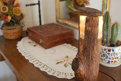 Lampa z drewna i kamieni z onyksu - sielskiewzgorze - Lampki nocne