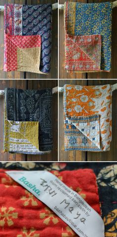 Kantha Bedspreads made from vintage saris by a project helping survivors of sex trafficking in Bangladesh. Each has a label with the maker's name and a link to her story. From www.decoratorsnotebook.co.uk http://www.decoratorsnotebook.co.uk/collections/decorators-notebook-collection/kanthas