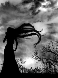 silhouette - a siren with hair blowing in wind? - keep back - black and white - Dark Fantasy, Fantasy Art, Dark And Twisted, Foto Art, Gothic Art, Dark Beauty, Pics Art, Photomontage, Belle Photo