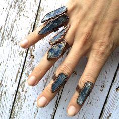 Raw Kyanite ring Blue Kyanite crystal ring Kyanite by HAWKHOUSE