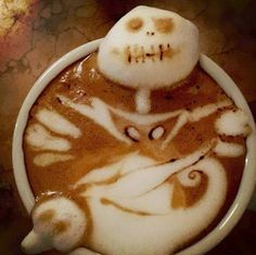 """Kazuki Yamamoto is a Osaka-based barista (you can find him at the """"Cafe and his impressive latte art is one of the coolest things i've ever seen. Jack Skellington, Coffee Latte Art, Cappuccino Art, Coffee Coffee, Coffee Break, Coffee Meme, Italian Coffee, Mousse, Snack"""