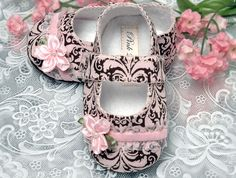 Baby Girl Shoe Emma in Pink Damask by Pink2Blue by pink2blue, $32.00