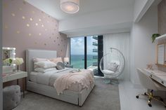 Girl's and boy's bedroom decor in an oceanfront condo designed by the Miami top interior design team DKOR Interiors - Get inspired with these designs! Kids Bedroom Designs, Room Design Bedroom, Room Ideas Bedroom, Home Room Design, Bedroom Decor, Girls Bedroom, Interior Design For Bedroom, Condo Bedroom, House Design