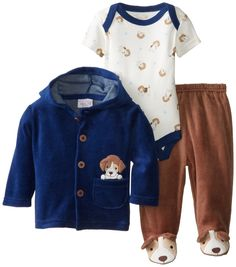 Rene Rofe Baby Newborn Boys Velour Hooded Puppy Jacket and Pant Set, Multi, 3-6 Months