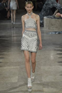 Iris van Herpen | Spring 2016 Ready-to-Wear | 06 Silver halter cropped top and mini skirt