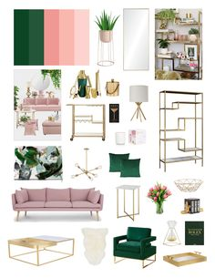 Emerald green & blush pink color scheme with hints of gold and white. Blush Pink Living Room, Living Room Green, Living Room Decor, Bedroom Decor, Blush And Gold Bedroom, Emerald Green Bedrooms, Green And White Bedroom, Emerald Green Decor, Green And Gold