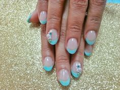 blue oval french nails