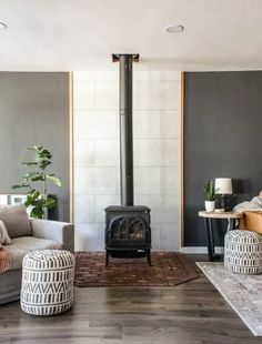 This fireplace got a major makeover with these inexpensive wall panels that are heat resistant and so easy to install using no power tools. Get a new look to your fireplace or create an accent wall in just a few hours! Concrete Wall Panels, Faux Brick Panels, Brick Paneling, Big Living Rooms, Home Living Room, Living Room Decor, Tongue And Groove Panelling, Manzanita, Fireplace Wall