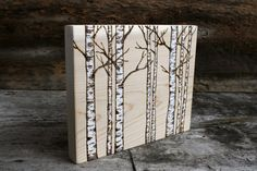 White Birch Trees  Woodland Art Block  by TwigsandBlossoms on Etsy