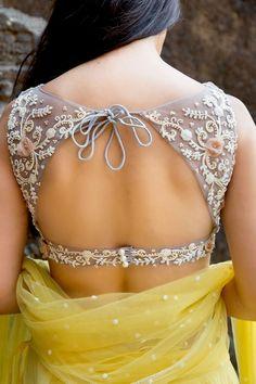 Beautiful open back #Saree Blouse | http://Swaha.co/ #Desi Fashion | 12th St, LA, Ca | Wedmegood.com