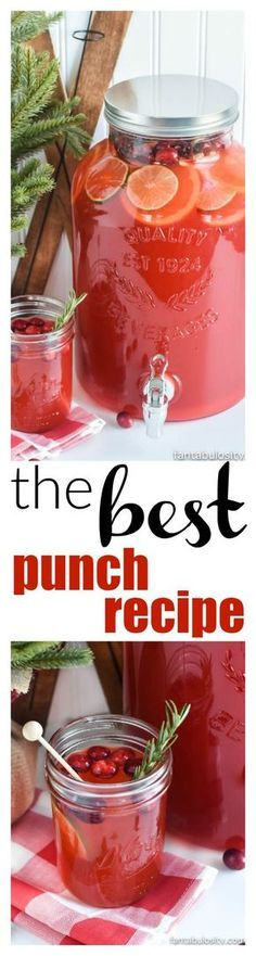 The BEST Punch Recipe for Any Party: made with Sprite (or lemon-lime soda), pineapple juice, kool-aid, sugar, and water! So easy, and the best ever!
