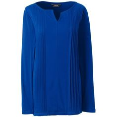 Lands' End Women's Tall Rayon Tunic (57 CAD) ❤ liked on Polyvore featuring tops, tunics, blue, lands end tops, pintuck tunic, blue tunic, rayon tops and tall tops