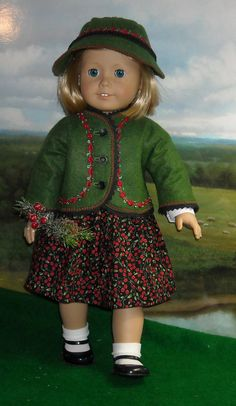 Holiday Alpine Style Jacket Dress and Felt Hat by SugarloafDollClothes