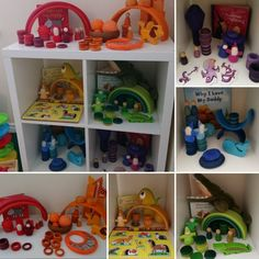 Shelfie - colour theme - early years - toddler play - Grapat - Grimms - Wooden Toys What's on our shelf April Top Toys for toddlers at around 18 months of age. Montessori Toddler, Toddler Play, Montessori Toys, Preschool Toys, Baby Play, Toddler Activities, Grimm's Toys, Top Toys, Creative Activities