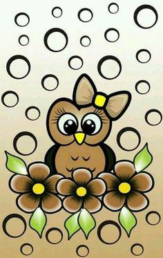 Coruja marrom com flores marrom