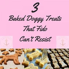 3 Baked Doggy Treats That Fido Can't Resist #BestPuppyFood #FoodForPuppies Doggie Treats, Homemade Dog Treats, Healthy Dog Treats, Dog Biscuit Recipes, Dog Treat Recipes, Dog Food Recipes, Best Puppy Food, Make Dog Food, Macaroon Recipes
