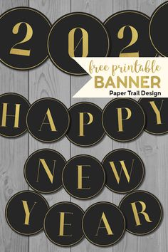 Free printable black & gold elegant Happy New Year banner letters and numbers. Easy cheap and fun New year banner decorations for a New Year's Eve party. Free Banner, Diy Banner, New Years Eve Party Ideas Decorations, New Year's Eve Crafts, New Year Printables, Party Banner, Black Gold Party, New Year's Eve 2020, Printable Banner Letters