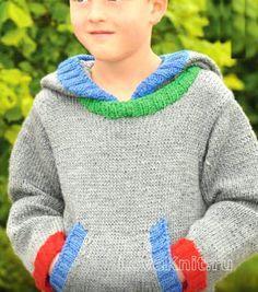 джемпер с большим карманом-кенгуру для мальчика фото к описанию